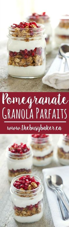 These Pomegranate Granola Parfaits are the perfect healthy breakfast! Recipe from thebusybaker.ca!