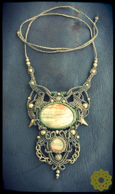 Macrame necklace with Afghan onyx*