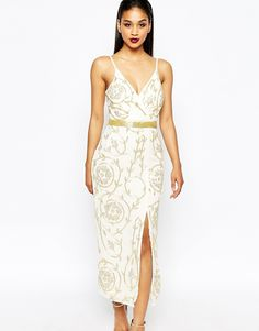 Image 1 of Virgos Lounge Loretta Embellished Midi Dress With Thigh Split