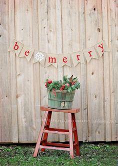 "Handmade Burlap and Felt Christmas ""Be Merry"" Flag Pennant, Banner, Photo Prop, Mantle decor by LittleLoveLane"