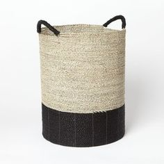 West Elm Color Block Cylinder Collection, Tall Storage Basket and other furniture & decor products. Black And White Interior, Black And White Design, Tall Basket, Modern Baskets, Guest Room Office, Storage Baskets, Laundry Baskets, Laundry Room, Basket Decoration