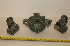 CHINESE INTRICATE CAVED JADE OR SOAPSTONE ? INCENSE BURNER & FOO DOGS