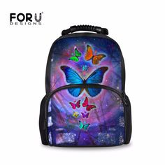 c04af76b5038 FORUDESIGNS Butterfly Printing Backpack for Men Women,Teenage Girls Boys  Large Travel Kanken Backpacks,Female Bagpack mochila