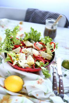 Frisée, Artichoke, Sweet Pointed Pepper Salad with Lime Chia Vinaigrette