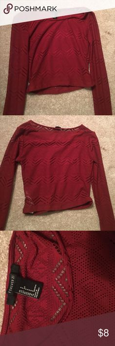 FOREVER 21 crop top dark red lacey crop top. never worn. good condition. Forever 21 Tops Crop Tops