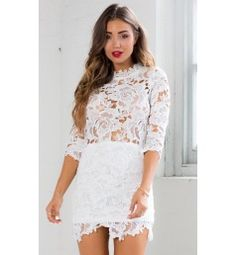 Harvest Dress in White Lace