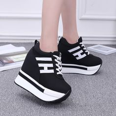 Womens Increased Within Flat Shoes Wedge Platform Sneaker Flat Wedges Canvas, Wedge Sneakers, Wedge Shoes, Adidas Sneakers, Flat Shoes, Lace Up Wedges, Lace Up Heels, Flat Wedges, Women's Jewelry Sets, Womens Fashion Sneakers