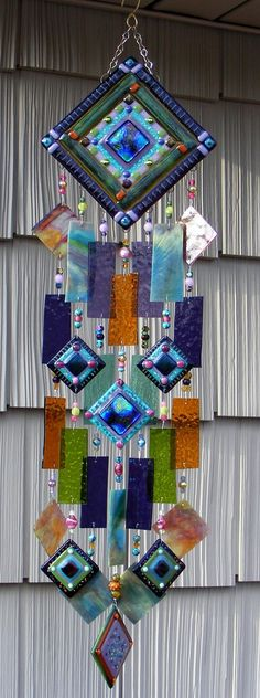 Fused Glass Art | Kirks Glass Art Fused Abstract Stained Glass ... | Fused Glass Windch ...