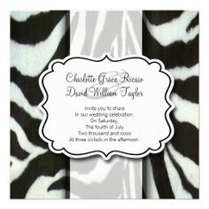 Zebra Wedding Personalized Invitations