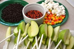 Cool idea for a harvest party.  Make your own caramel apple bar.