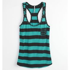 Nollie Tees - Womens - Nollie Racerback Pocket Striped Tank ($2.99) ❤ liked on Polyvore