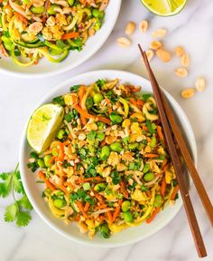 Easy Vegetarian Pad Thai with Zucchini Noodles. Full of protein and flavor, not too spicy, gluten free, and low carb! This fast and healthy one pot meal is perfect for busy families and weeknight dinner. Recipe at wellplated.com | @wellplated