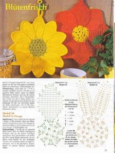 The international flavour of crochet! Crochet Sunflower, Crochet Mandala, Crochet Motif, Crochet Doilies, Crochet Flowers, Crochet Stitches, Crochet Potholder Patterns, Christmas Crochet Patterns, Crochet Dishcloths