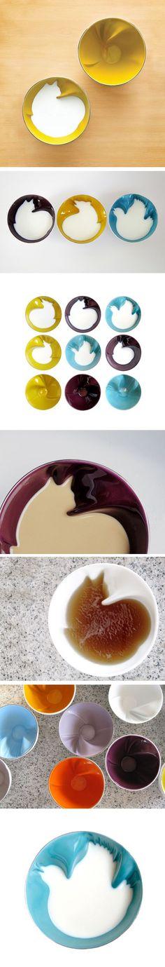 (9) Les bols de Geraldine De Beco / Creative bowls / cat in a bowl!