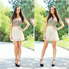 Lovelywholesale Apricot Chiffon Skirt, Black Wedges Shoes