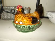 Authentic Vintage rare Hen on her Nest by L.G.Wright, hand painted Pate Dish Tureen Michel Caugant. by MaisonbrocanteFrance on Etsy