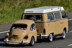 1979 Volkswagen Campervan w/ Back Half;d Beetle trailer. Nice.