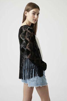 Moda em Crochê: Crochê + Suede - Cardigan de crochê e suede Topshop