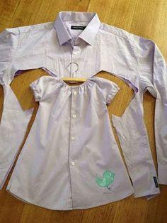 НАША СТРАНА МАСТЕРОВ: Милое платье для девочки из папиной рубашки. Отлич...