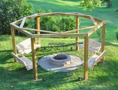 Hexagon fire pit with swings!!