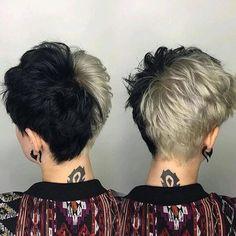 Edgy Pixie Cuts Ideas - Female Hairstyles for Short Hair - Short Hair Styles Half Dyed Hair, Dyed Hair Men, Half And Half Hair, Split Dyed Hair, Hair Dye, Short Grunge Hair, Short Hair Cuts, Edgy Pixie Cuts, Short Punk Hair