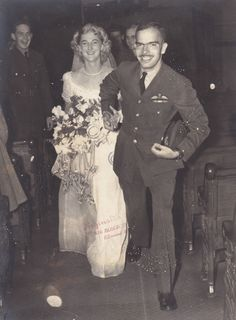 Brian & Emily's wedding,September 17, 1945  'If you ever thought you were going to be hurt or killed, you wouldn't be a good pilot' #weddings #vintage #WW2