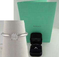 .33ct PRINCESS DIAMOND SI1 F TIFFANY CO SOLITAIRE ENGAGEMENT RING PLATINUM