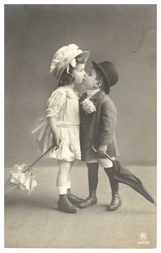Vintage Children Kissing by Beinspyred.deviantart.com on @deviantART