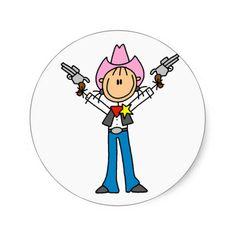 Stick Figure Cowgirl Sheriff Tshirts Round Stickers