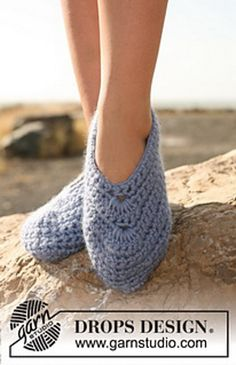 "Ravelry: 129-34 Slippers in ""Eskimo"" pattern by DROPS design crochet slipper pattern"
