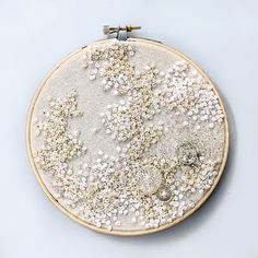 Pure White - Embroidered Hoop Art - French Knots and Vintage Buttons.