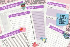 Filofax Mini printable kit purple, Home Management,6 planner pages, Instant Download, PDF, SALE ! by Sorocashop on Etsy