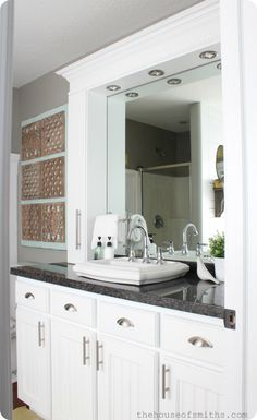 Master Bathroom Makeover Reveal + CD Towers turned Vanity Storage