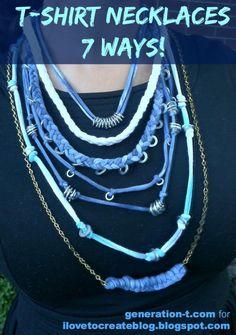 Tie-Dye T-shirt & Hardware Necklaces: 7 Ways! Scarf Jewelry, Textile Jewelry, Fabric Jewelry, Diy Jewellery, Tie Dye T Shirts, T Shirt Yarn, T Shirt Diy, Tee Shirt, Fabric Necklace