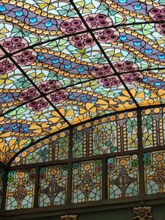 Stained glass in Gaudi's Casa Amatller, Barcelona, Catalonia, Spain Barcelona Architecture, Architecture Details, Art Nouveau, Art Deco, Leaded Glass, Stained Glass Art, Barcelona Catalonia, Barcelona City, Dome Ceiling