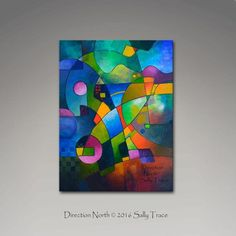 Title: Direction North A beautiful image with bright, geometric colors. Acrylic on canvas, 40 high, 30 wide, 1.5 deep gallery wrapped canvas. Very textured surface. The sides are painted black. Wired, varnished, ready to hang. Signed certificate of Authenticity. Signed on the front, signed and titled on the back.  More abstract paintings and giclee prints, fluid paintings, multi-panel art, geometric, floral, urban, abstract landscape paintings and prints: http://www.etsy.com/sh...