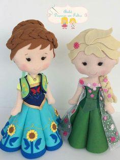 Frozen - love the details Felt Doll Patterns, Stuffed Toys Patterns, Felt Diy, Felt Crafts, Frozen Dolls, Puppets For Kids, Disney Crafts, Fairy Dolls, Soft Dolls