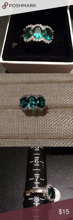 Deep emerald 3 stone ring Size 8. .925 stamped. Rounded emerald stones surrounded by crystals. Designed and created by my Jeweler. Brand New!! Bundle for discount!! Cinderella Jewelry Jewelry Rings