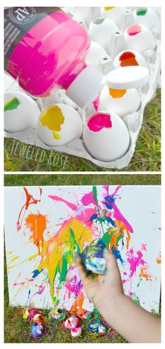 Tossing paint filled eggs at canvas- SO FUN! Making the eggs is easy, too! Kids love this art project!