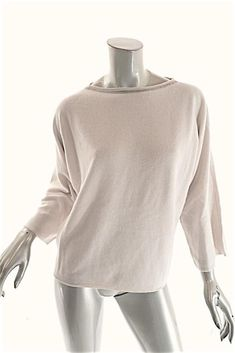 d251755afc9ab FABIANA FILIPPI Bone Wool Blend Silver Bead Trim Crewneck Sweater 44 M NWT