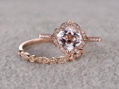 2pcs Morganite Bridal Ring SetEngagement ring Rose goldDiamond wedding band14k7mm Cushion CutPromise RingRetro Vintage FloralArt Deco