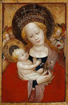 Madonna of the flowering pea, c. 1425. Painting much damaged, but what a lovely cheerful baby!