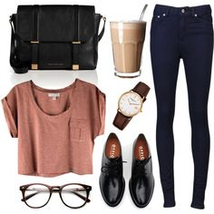 Striped cropped t shirt + high waisted denim pants + shiny oxfords + large black leather bag