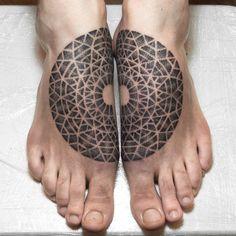 Geometric Dotwork Tattoo on Feet