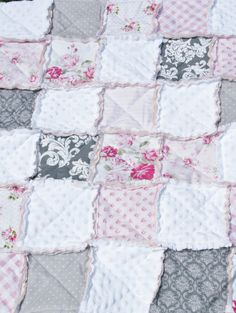 Baby Girl Rag Quilt Shabby Chic Rag Quilt Pink Gray by justluved