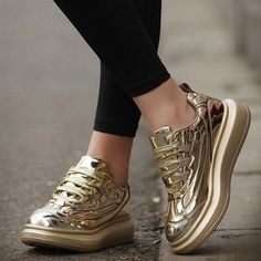 women's casual shoes Gold, Silver thick bottom Platform shoes trainers shoes autumn winter Ladies Shoes Flats huarche ayakkab