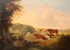antique landscape paintings | British School Antique Landscape Painting, Cows at Pasture before from ...