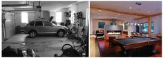 Owners B. J. and Nancy Blair convert the garage into a media/rec room.
