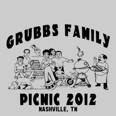 Design FW 3001, Original picnic scene that will delight your family reunion.  Add this design to a color t-shirt of your choosing.  This is a favorite reunion t-shirt design year after year.   http://www.reuniontees.com/reunion_tees/Design/FRW_3001  #FamilyReunionTshirt, #ReunionTshirt