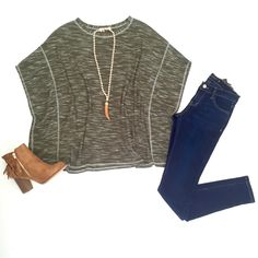 Olive me some Fall Fashion, that's for sure!  Olive Perfection Poncho $39 [Has Arm Holes] NEW Flying Monkey Denim Blue Skinnies $68 Kara Fringe Bootie $48 [size 7.5 & 8 left] Wooden Horn Necklace $24 ShopAliya.com  #fallfashion #newarrivals #shopaliya #shopmycloset #fallessentials FREE SHIPPING OVER $50